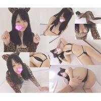 ☆Kモデル のぞみちゃんシリーズ⑧ 猫耳ヒョウ柄→マイクロビキニ(黒) 猫耳姿でセクシーポーズ