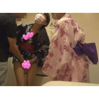 【個撮】夏休みバカたまご!あやちゃんみきちゃん!浴衣でトイレでバックからハメ中出し映像