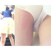パンチラ盗撮 女子大生 白パンツを階段で激撮